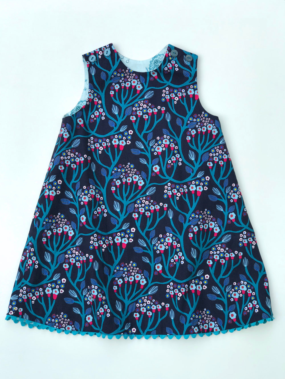 reversible pattern block dress in aqua and navy - little girl Pearl