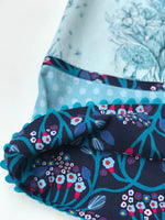 Load image into Gallery viewer, reversible pattern block dress in aqua and navy - little girl Pearl