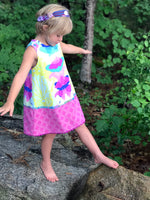 Load image into Gallery viewer, reversible pattern block dress in aqua ghost nouveau - little girl Pearl