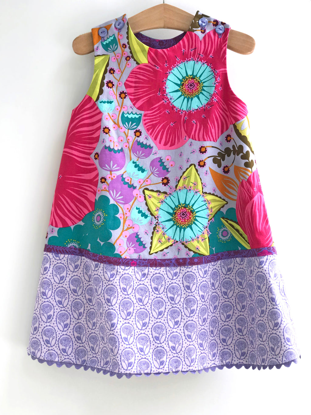 reversible pattern block jumper in periwinkle big bloom - little girl Pearl