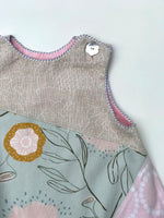 Load image into Gallery viewer, reversible asymmetric dress in silver gray and pink, LIMITED EDITION - little girl Pearl
