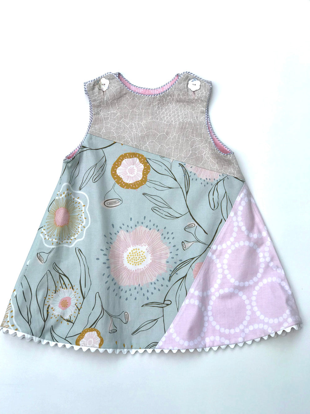 reversible asymmetric dress in silver gray and pink, LIMITED EDITION - little girl Pearl