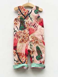 reversible overalls in pink protea