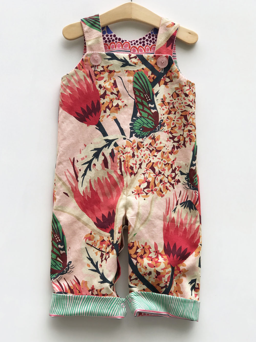 reversible overalls in pink protea - little girl Pearl