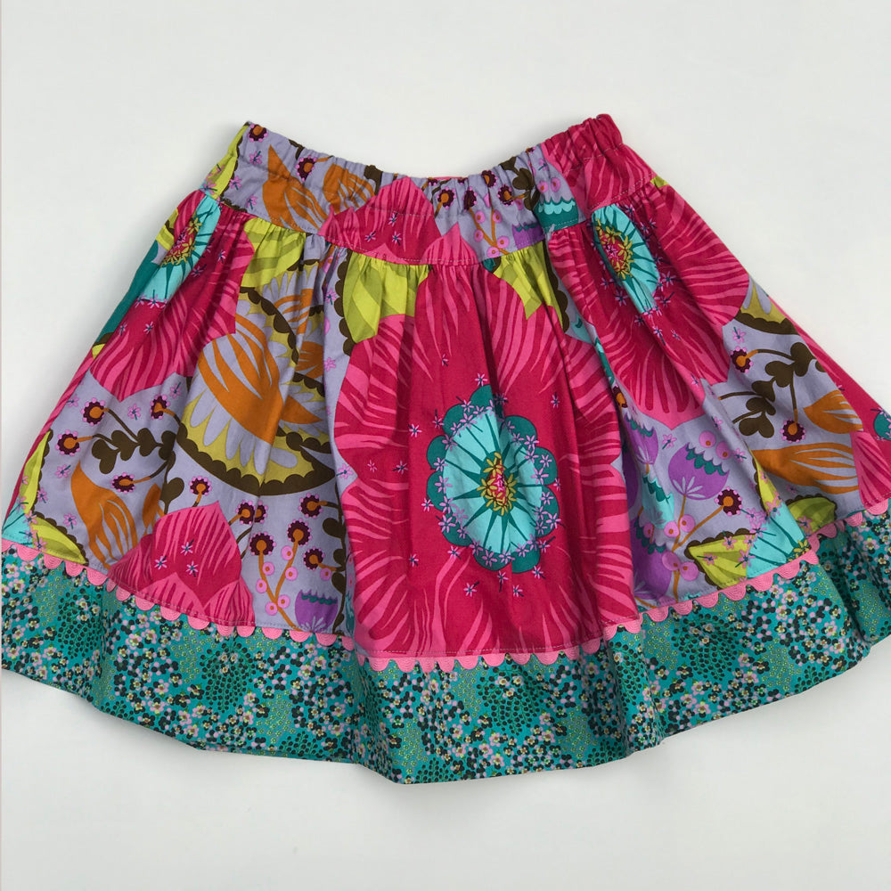 favorite twirl skirt in big bloom rose - little girl Pearl