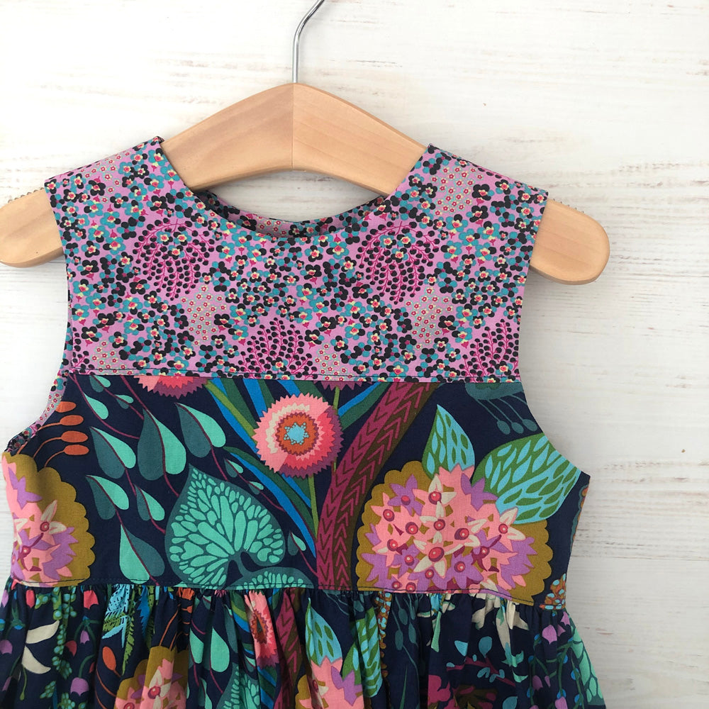 skater dress in bold navy, jade, and pink florals - little girl Pearl