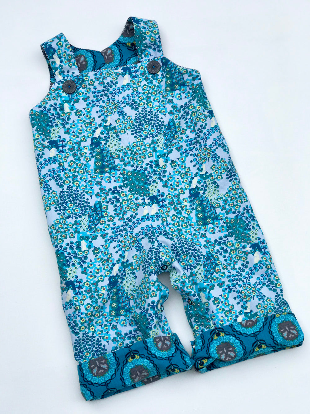 reversible overalls in dark teal bee medallion - little girl Pearl