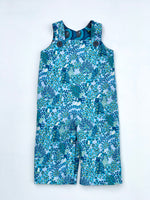 Load image into Gallery viewer, reversible overalls in dark teal bee medallion - little girl Pearl