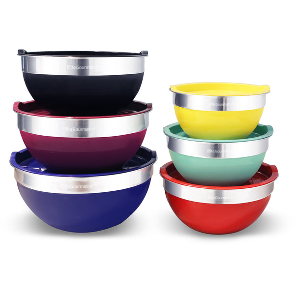 12 PC Stainless Steel Mixing Bowls with Lids