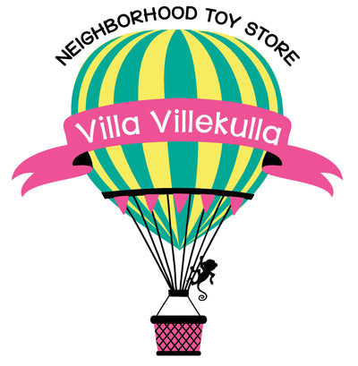 Villa Villekulla Toys hot air balloon logo for independent toy store in Amelia Island, Florida