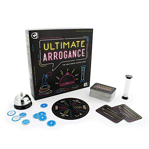 Ultimate arrogance game box displayed with game pieces which include a spinner, a bell, an hourglass and a spinner.