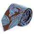 "Slim Paisley Necktie 3.25"" Wide  59 "" Length Brown, Blue and Purple Pattern - Ferrecci USA"