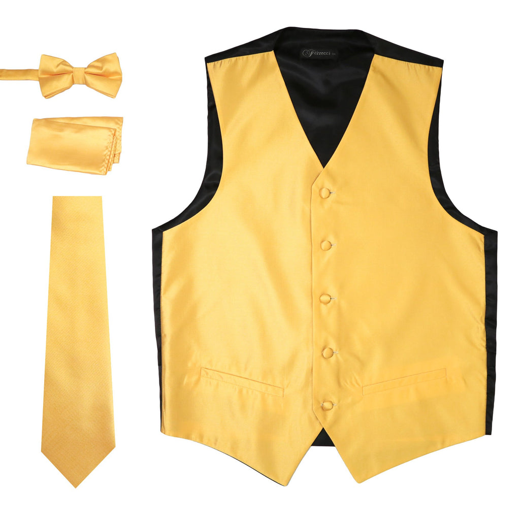 Ferrecci Mens Solid Gold Wedding Prom Grad Choir Band 4pc Vest Set - Ferrecci USA