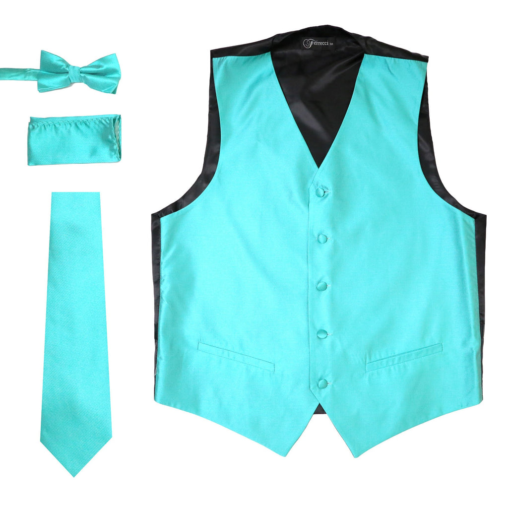 Ferrecci Mens Solid Aqua Pale Turquoise Wedding Prom Grad Choir Band 4pc Vest Set - Ferrecci USA