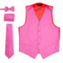 Ferrecci Mens Solid Fuchsia-Pink Wedding Prom Grad Choir Band 4pc Vest Set - Ferrecci USA