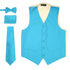 Ferrecci Mens Solid Light Blue-Cream Wedding Prom Grad Choir Band 4pc Vest Set - Ferrecci USA