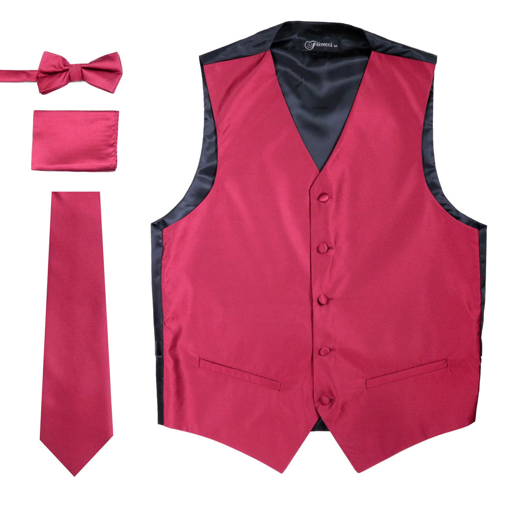 Ferrecci Mens Solid Burgundy Wedding Prom Grad Choir Band 4pc Vest Set - Ferrecci USA