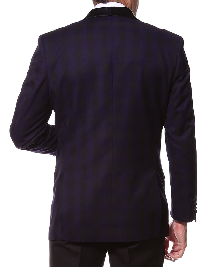 The Astor Purple Plaid Slim Shawl Tuxedo Blazer - Ferrecci USA