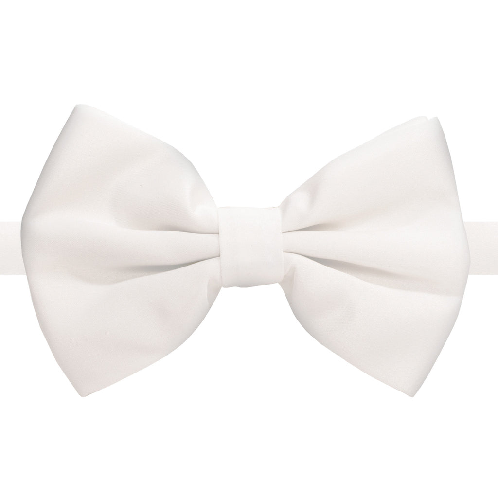 Axis White Adjustable Satin Bowtie - Ferrecci USA
