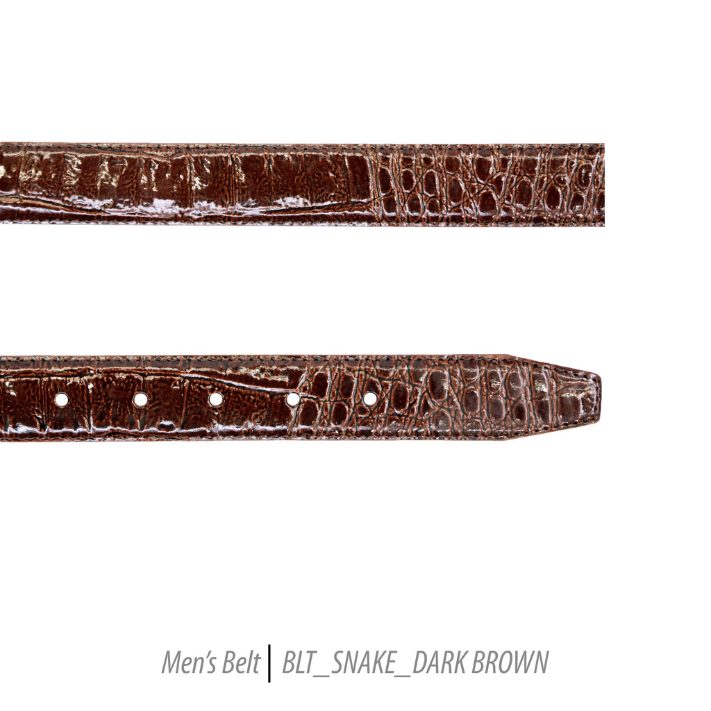 Ferrecci Mens 100% Genuine Leather Dark Brown Belt w/Snake Top - One size Fits All - Ferrecci USA