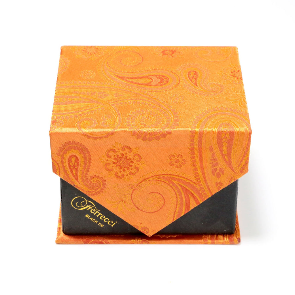 Men's Radiant Orange Paisley Geometric Design 4-pc Necktie Box Set - Ferrecci USA