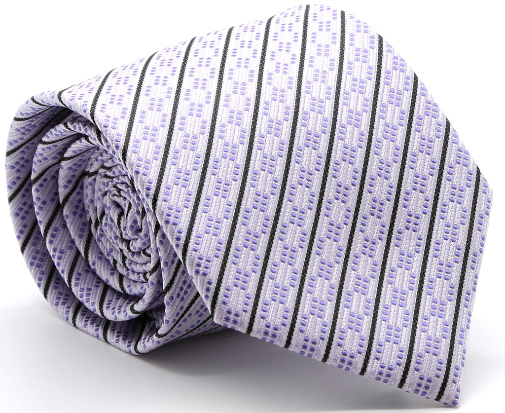 Mens Dads Classic Purple Striped Pattern Business Casual Necktie & Hanky Set C-11 - Ferrecci USA