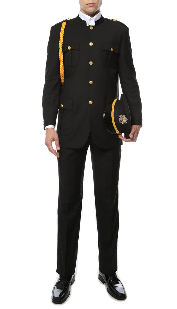 Ferrecci Mens Black Military Cadet Uniform - Ferrecci USA
