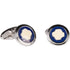 Silvertone Circle Blue Cufflinks with Jewelry Box - Ferrecci USA