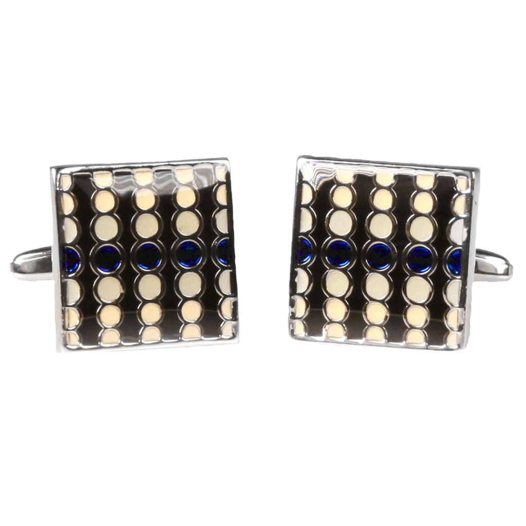 Silvertone Square Geometric Dots Cufflinks with Jewelry Box - Ferrecci USA