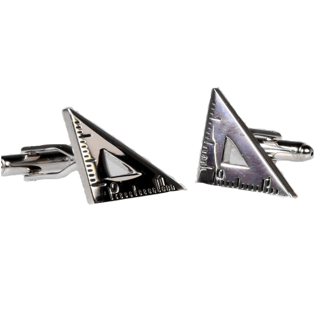 Silvertone Novelty Triangle Ruler Cufflinks with Jewelry Box - Ferrecci USA