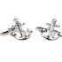 Silvertone Novelty Anchor Cufflinks with Jewelry Box - Ferrecci USA