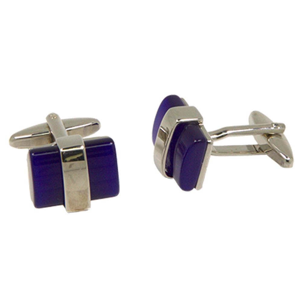 Silvertone Square Blue Cufflinks with Jewelry Box - Ferrecci USA