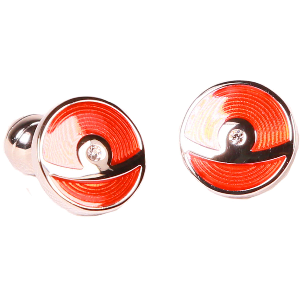 Silvertone Circle Red Cufflinks with Jewelry Box - Ferrecci USA