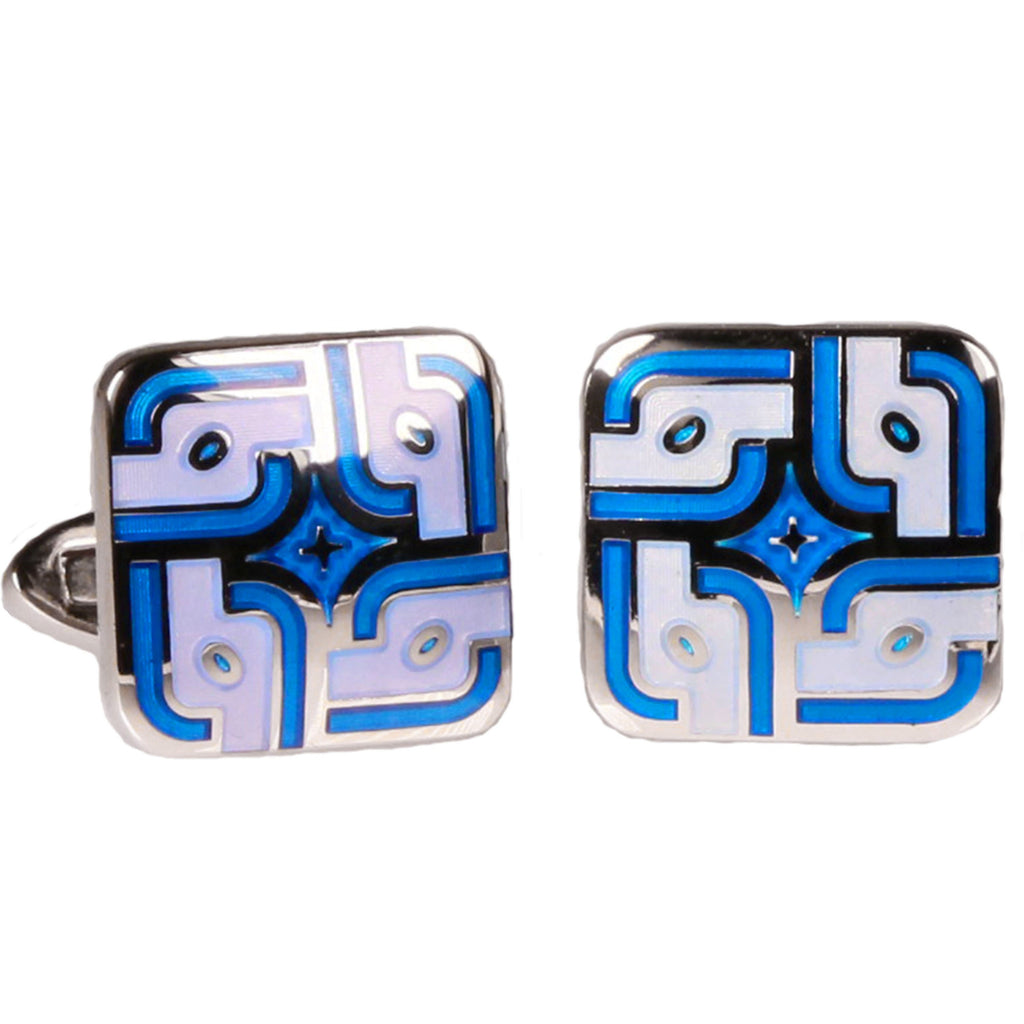 Silvertone Square Blue Pattern Cufflinks with Jewelry Box - Ferrecci USA