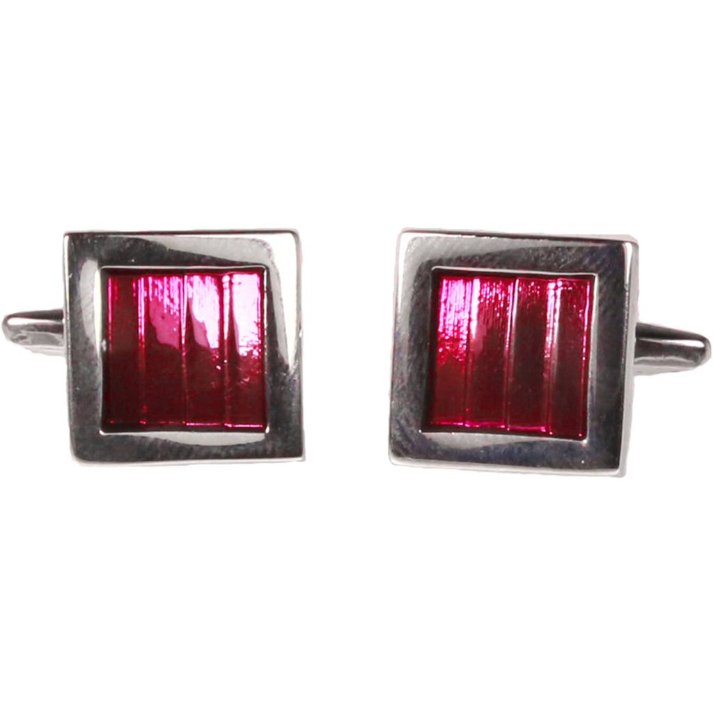 Silvertone Square Lavender Gemstone Cufflinks with Jewelry Box - Ferrecci USA