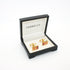Goldtone Lavender Stripe Cuff Links With Jewelry Box - Ferrecci USA