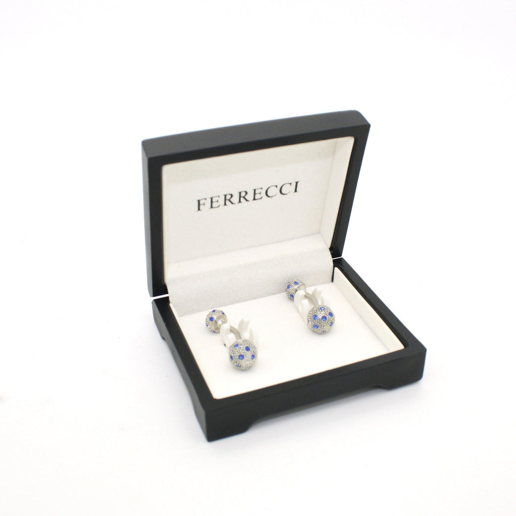Silvertone Ball Gemstone Cuff Links With Jewelry Box - Ferrecci USA