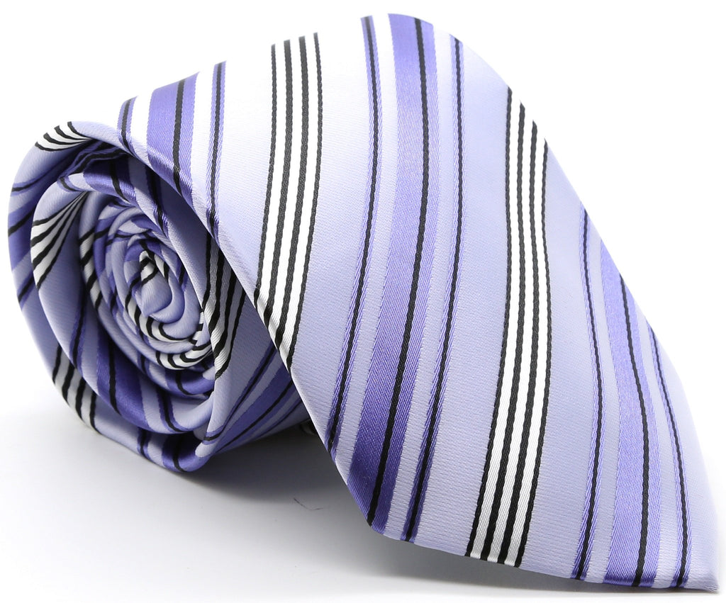 Mens Dads Classic Purple Striped Pattern Business Casual Necktie & Hanky Set D-12 - Ferrecci USA