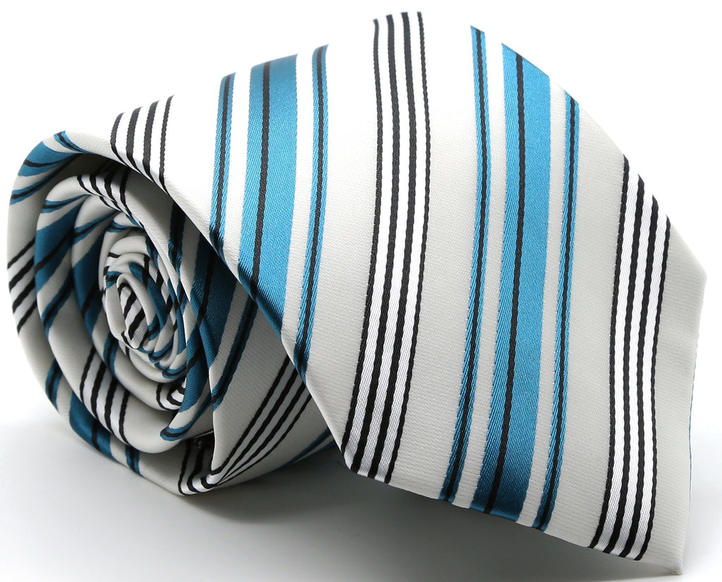 Mens Dads Classic Turquoise Striped Pattern Business Casual Necktie & Hanky Set D-9 - Ferrecci USA