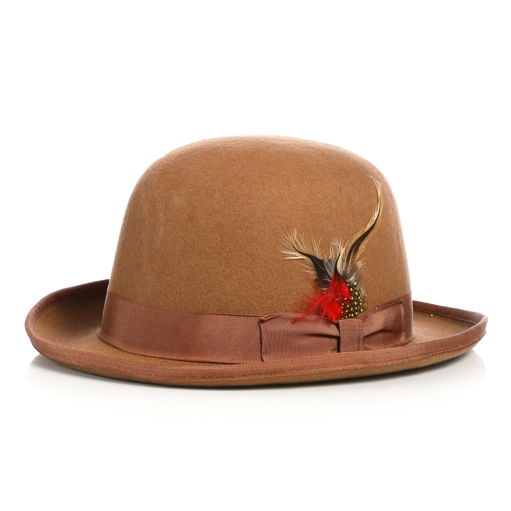 Premium Wool Tan Derby Bowler Hat - Ferrecci USA