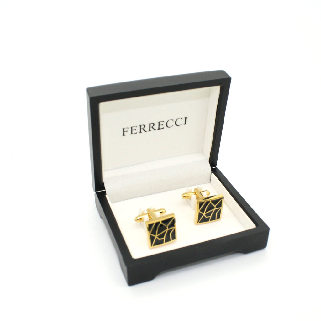Goldtone Black Crackle Cuff Links With Jewelry Box - Ferrecci USA
