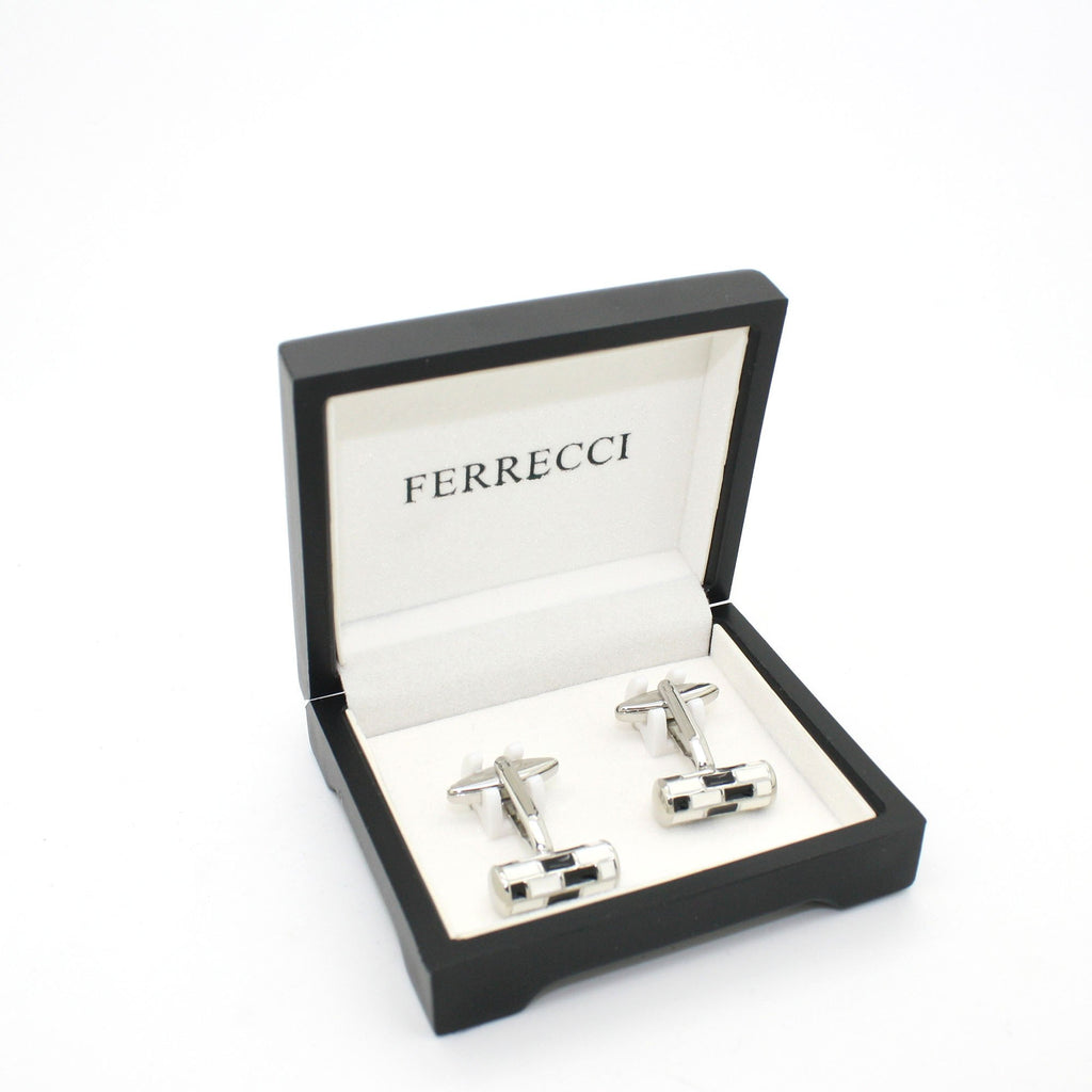 Silvertone Black & White Cuff Links With Jewelry Box - Ferrecci USA