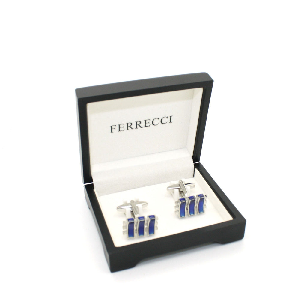 Silvertone Aqua Blue Criss Cross Cuff Links With Jewelry Box - Ferrecci USA