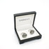 Silvertone Round Cuff Links With Jewelry Box - Ferrecci USA