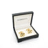 Goldtone Black White Oval Cuff Links With Jewelry Box - Ferrecci USA