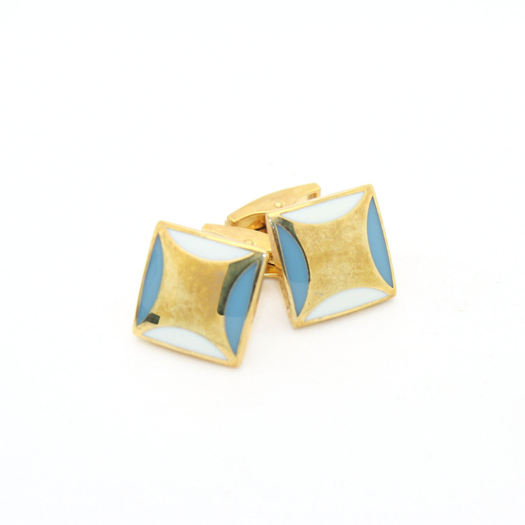 Goldtone Sky Blue Cuff Links With Jewelry Box - Ferrecci USA