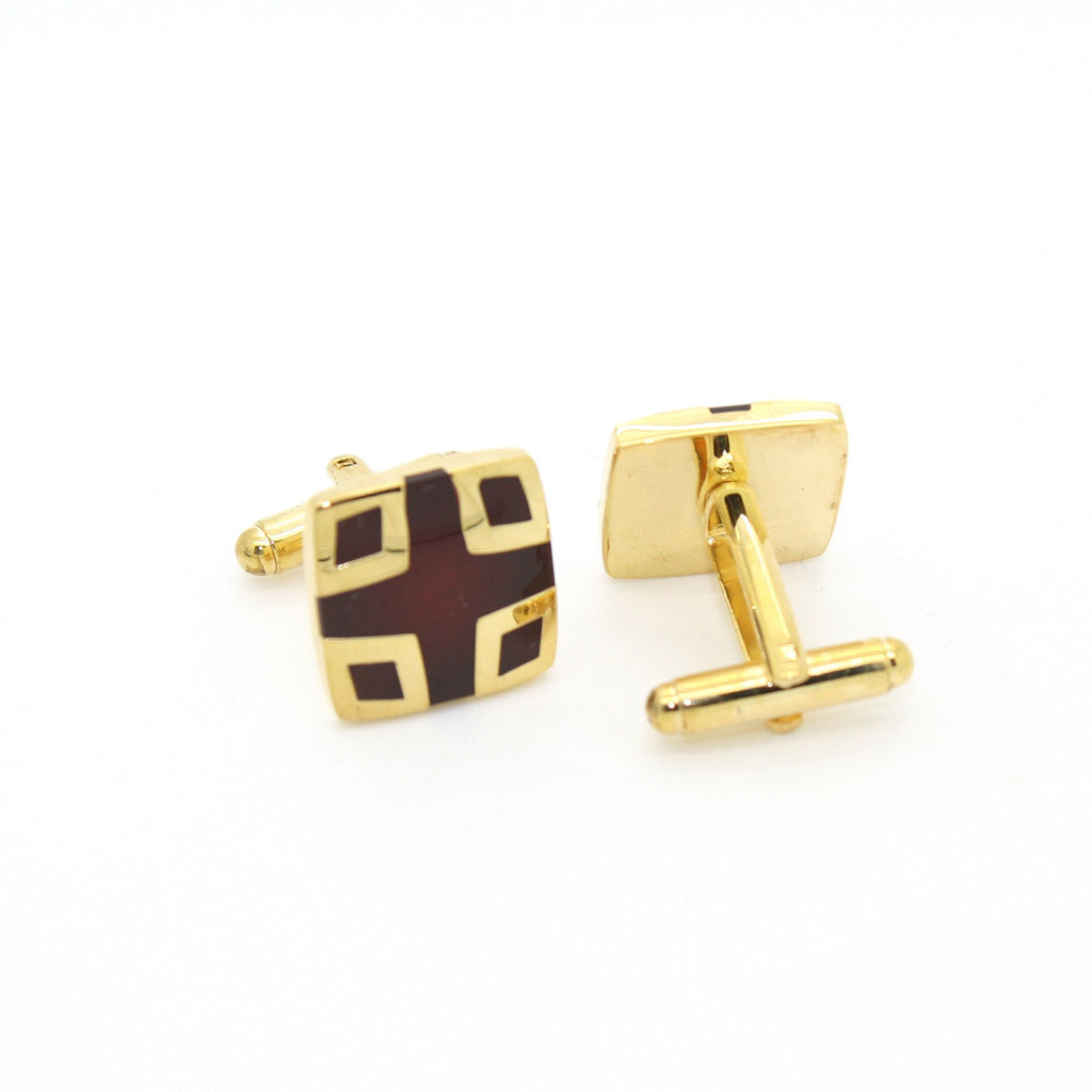 Goldtone Burdungy DesignCuff Links With Jewelry Box - Ferrecci USA