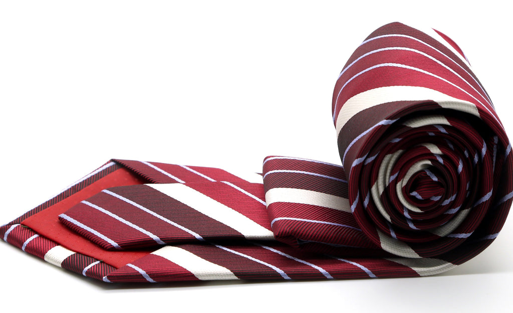 Mens Dads Classic Red Striped Pattern Business Casual Necktie & Hanky Set EO-7 - Ferrecci USA