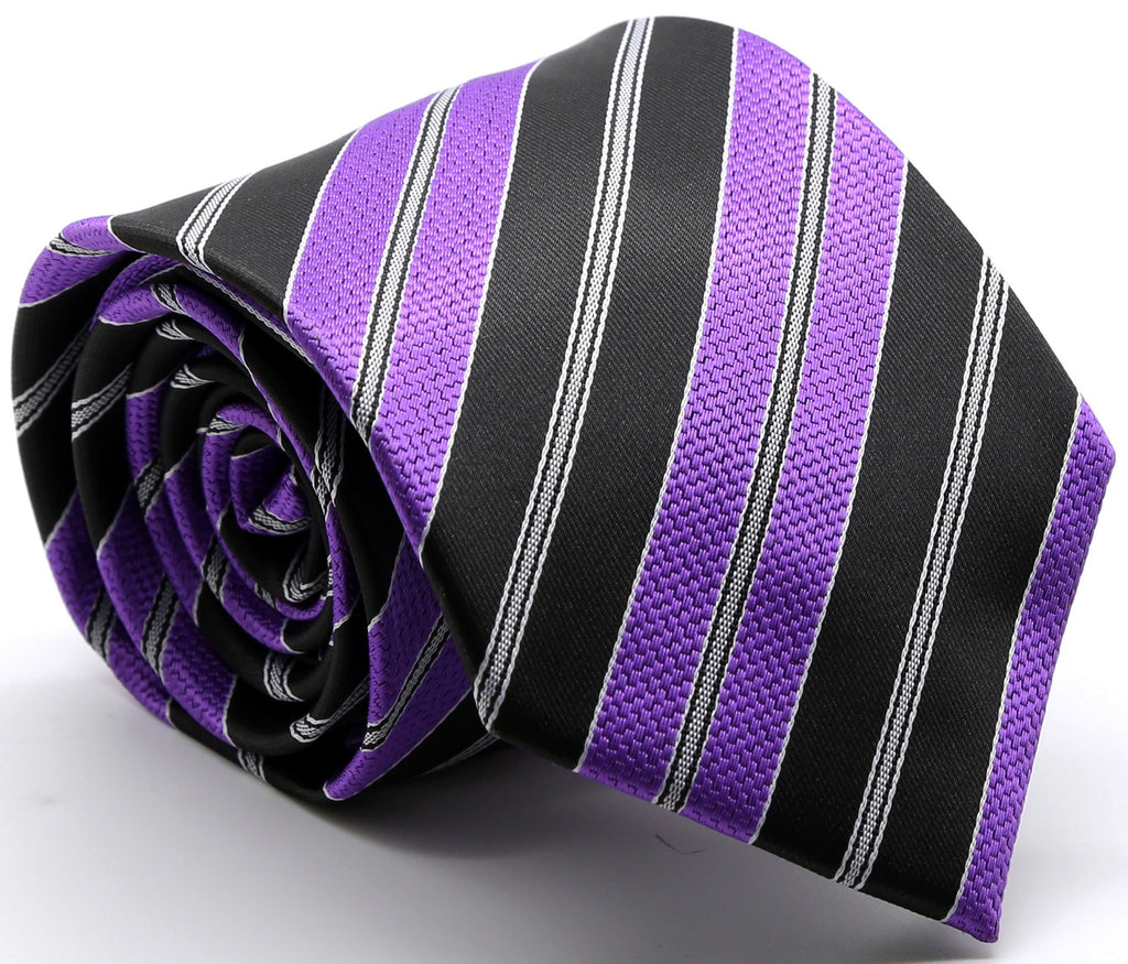 Mens Dads Classic Purple Striped Pattern Business Casual Necktie & Hanky Set F-1 - Ferrecci USA