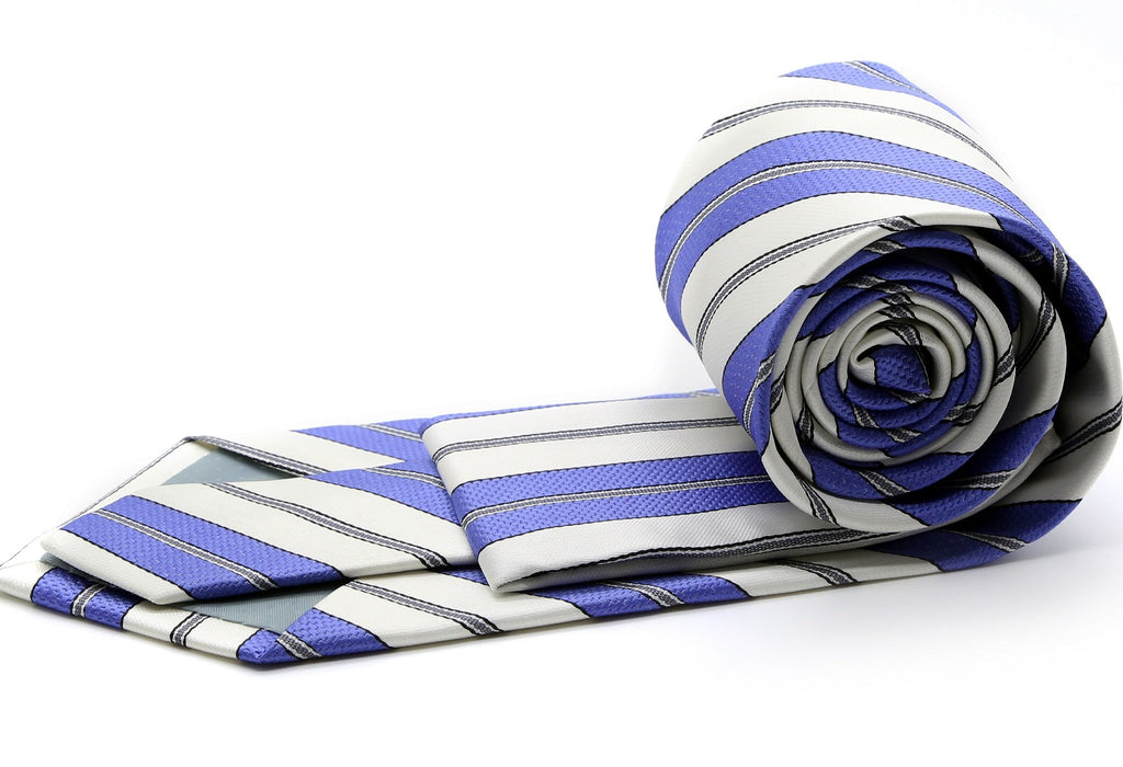 Mens Dads Classic Purple Striped Pattern Business Casual Necktie & Hanky Set F-10 - Ferrecci USA